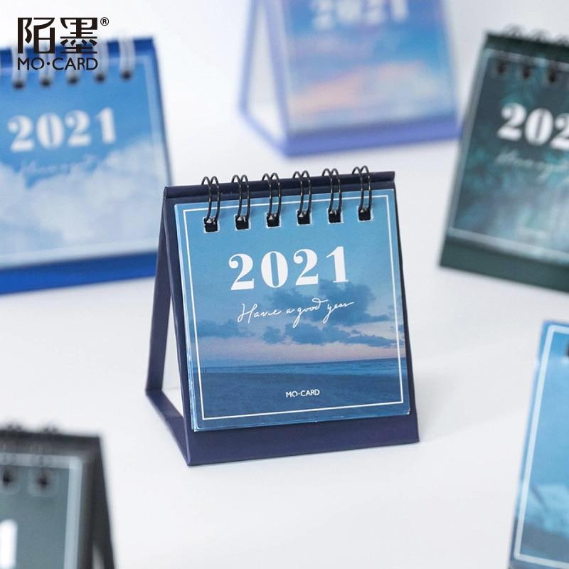2021 Sun Moon Star Series mini Desktop Paper landscape Calendar dual Daily Scheduler Table Planner Yearly Agenda Organizer 3