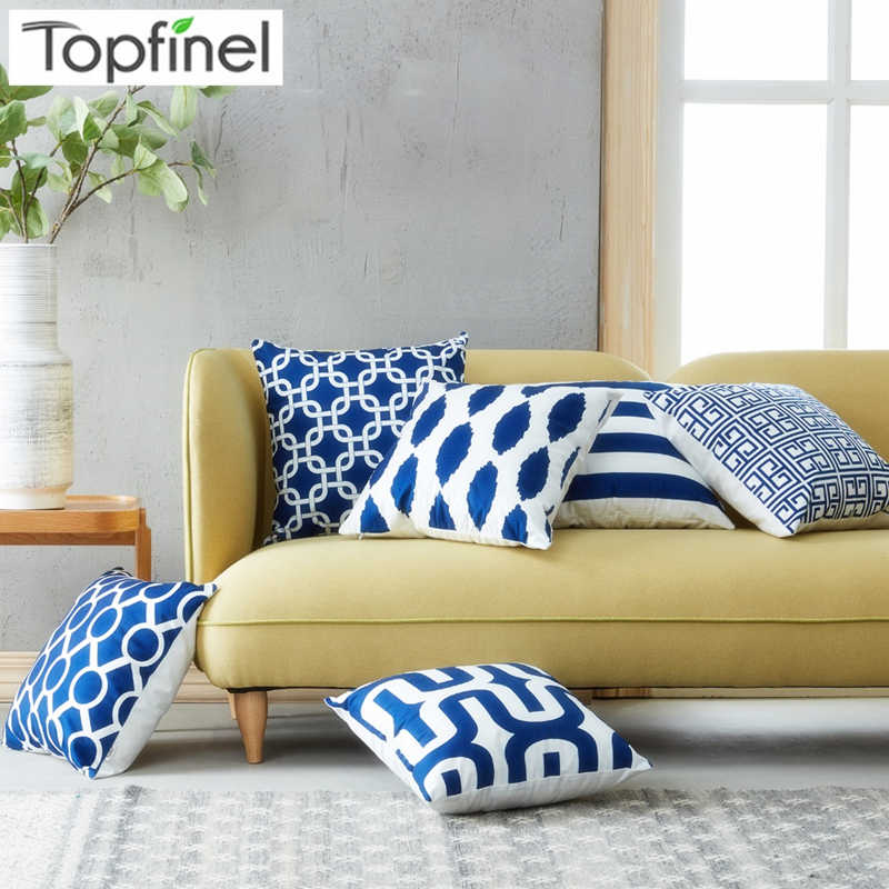 Topfinel Geometric Nordic Cushion Cover Microfiber Throw Pillow Cover Cushion Case Sofa Bed Decorative Navy Pillow Suit