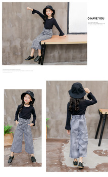 2019 Kids Girls Clothes Sets Long Sleeve T-shirts + Plaid Wide Leg Pants  Autumn Children's Clothing Teenage for 7 8 10 12 Years 5