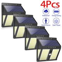 4 Uds 250 LED iluminación exterior lámparas solares para pared luz de pared impermeable al aire libre lámpara LED con Sensor de movimiento PIR luz de pared nocturna