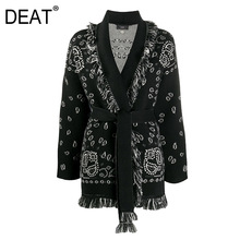 Sweaters Woman Cardigan Knit Print Elegant Full-Sleeve High-Street New Tassel DEAT Autumn