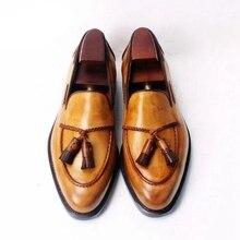 Men Leather Shoes Low Heel Fringe Shoes