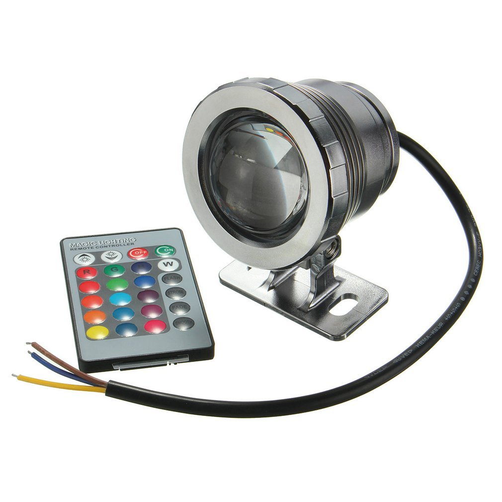 IP68 10W RGB <font><b>LED</b></font> Light <font><b>Garden</b></font> Fountain Pool Pond <font><b>Spotlight</b></font> Waterproof Underwater Lamp with Remote Control Black/Silver image