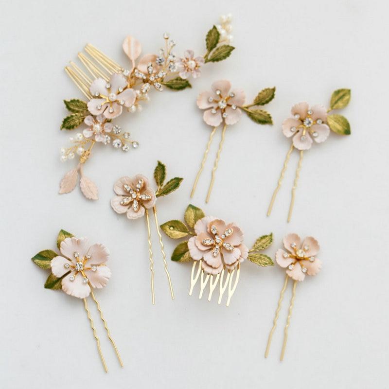 Wedding Hair Accessories Vintage Floral Design Hair Comb With Enamel Bridesmaid Prom Hair Comb Vintage Bridal