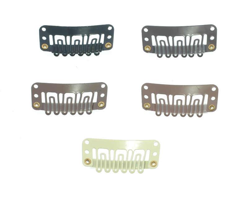 20 sztuk 32mm 6-zęby przedłużanie włosów klipy Snap metalowe klipsy z silikonowym tyłem do klip w doczepy z ludzkich włosów peruka klipy LZH0102