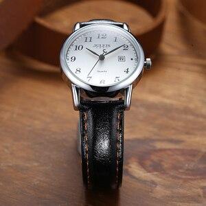 Image 2 - Üst Julius kadın İzle Japonya Kuvars Saat Otomatik Tarih Ince Moda Saat Deri Kayış kızın Retro Doğum Günü Hediye kutu 508