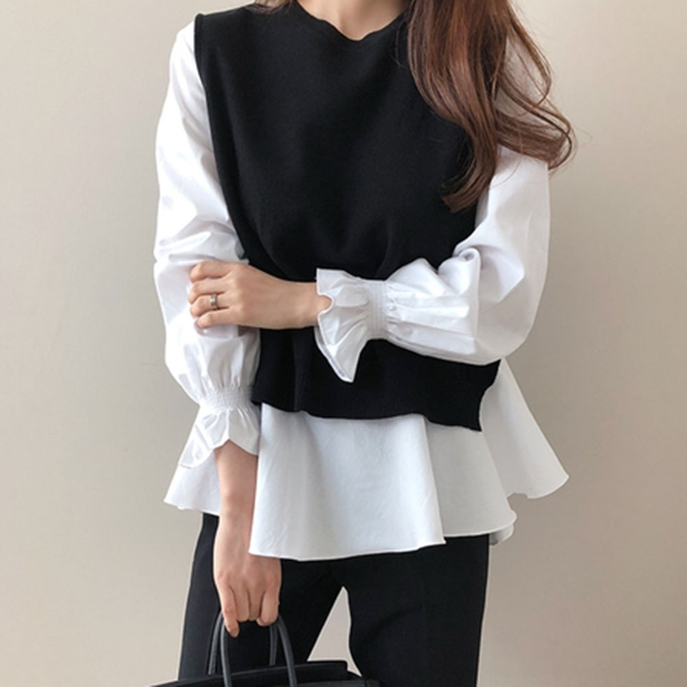 Spring Long Sleeve T-Shirt And Knitted Black Vest 2PCS Elegant Office Ladies Female Tops Causal Women Clothings Plain T Shirts