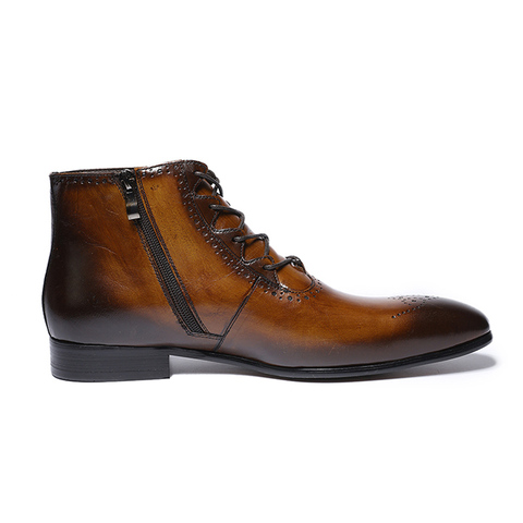 FELIX CHU 2019 Fashion Design Genuine Leather Men Ankle Boots High Top Zip Lace Up Dress Shoes Black Brown Man Basic Boots Multan