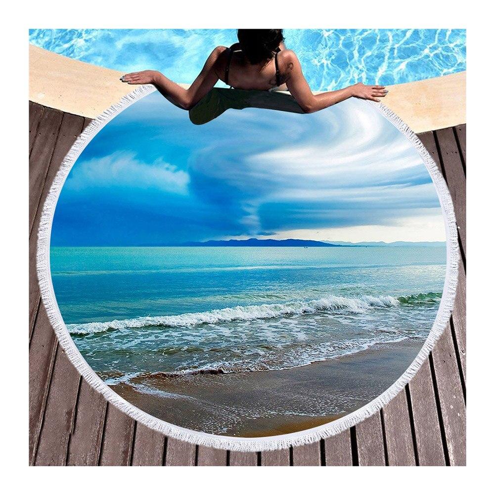 Toalha de Praia Redonda para Adultos Transporte da Gota Nova Adorável Microfibra Cobertor Borlas Tapeçaria Praia Esteira