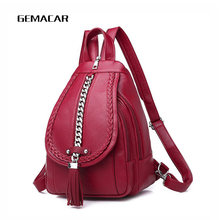 Female Backpack Designer High Quality Leather Women Bag Fashion School Bags Girl Red Bagpack Tassel Multifunction Bag Waterproof(China)
