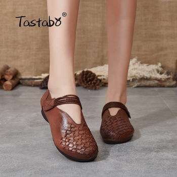 Tacabo, zapatos de mujer hechos a mano de cuero genuino, tejido superior caramelo marrón S2608, zapatos planos simples, zapatos de estilo informal para el día a día