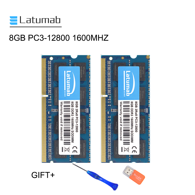 Latumab <font><b>8GB</b></font> 16GB <font><b>DDR3</b></font> 1600MHZ PC3 12800 Laptop Memory So-Dimm Memory Ram 204 Pins 1.5V <font><b>Notebook</b></font> PC Memory RAM Memory Module image