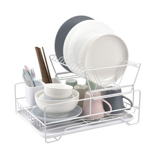 2 Tier Iron Baking Finish Kitchen Drying Dish Rack Sink Drain Holder Cutlery Drainer Accessories Storage Plate Organizer Shelf