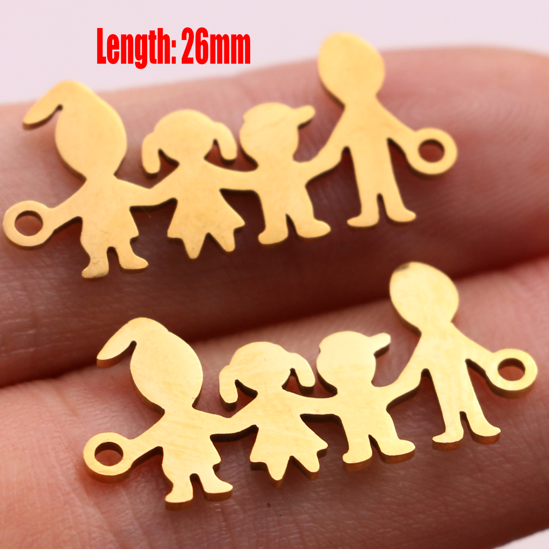 5pcs Family Chain Stainless Steel Pendant Necklace Parents and Children Necklaces Gold/steel Jewelry Gift for Mom Dad New Twice - Цвет: Gold 31