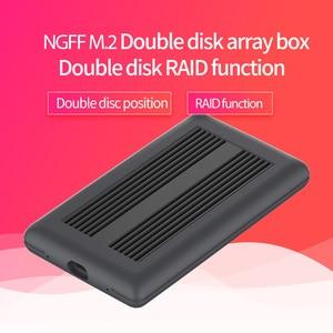 Armario de matriz Dual NGFF m2 ssd carcasa de Puerto typec transmisión de alta velocidad ssd carcasa metal disipación de calor soporte doble disco