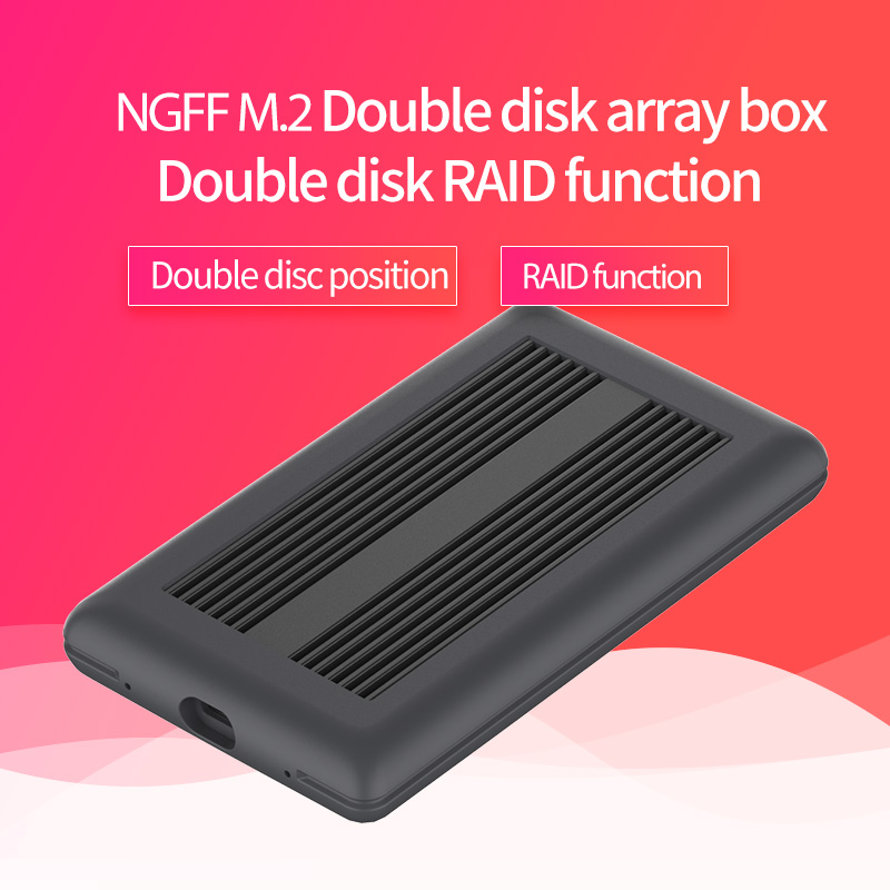 Dual Array Cabinet NGFF M.2 Ssd Case Typec Port High Speed Transmission Ssd Enclosure Metal Heat Dissipation Support Double Disk