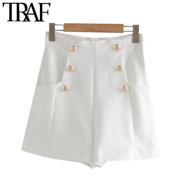 TRAF Women Chic Fashion With Buttons Pockets Bermuda Shorts Vintage High Waist Side Zipper Female Short Ropa Mujer 2