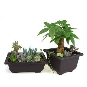 Image 4 - Planter bonsai Flower branch Pot Imitation Plastic Balcony Rectangle Bonsai Bowl pots Basin Nursery plastic Gardon Supply