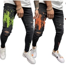 Men Streetwear Geometric Printing Skinny Jeans distressed printed Hip-hop biker Joggers Denim pants