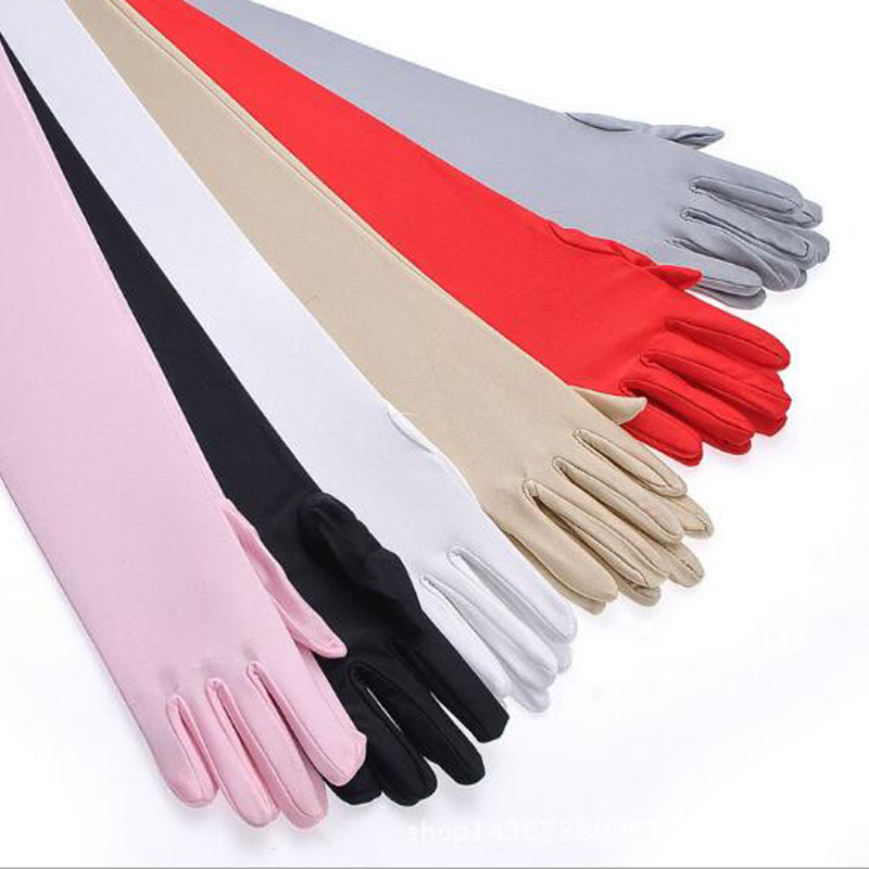 Autumn Winter Long Gloves Women's Mittens Fashion Solid Colors Female Satin Opera Evening Party Prom Costume Glove