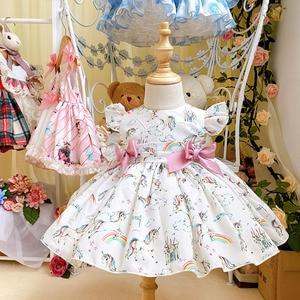 Платье принцессы с единорогом для девочек, винтажные вечерние платья для девочек, подарок на свадьбу, лето 2020