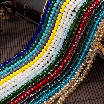 Contas de vidro facetadas coloridas, 2x3mm/3x 4mm/4x6mm, pequenas contas de vidro sead contas para fazer jóias acessórios de jóias diy