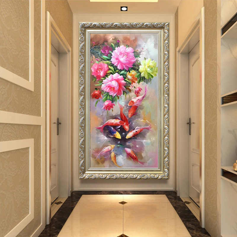 QIANZEHUI,DIY Diamante Bordado, Rodada Diamante sala de estar varanda estilo Chinês peônia Completa pintura Diamante do ponto da cruz
