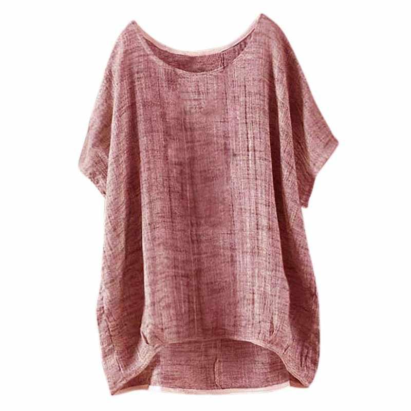 夏の女性のシャツレトロ O ネックスバットウィングスリーブバギーパーティーコットンリネンのブラウス
