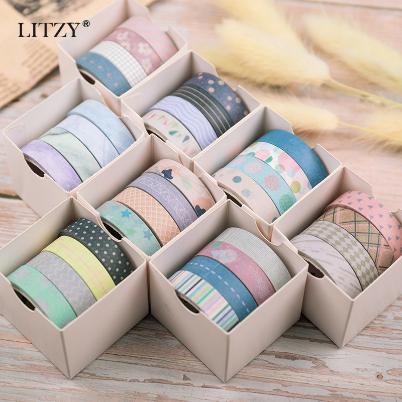Japanese Stationery DIY Diary Decoration Washi Tape Set Scrapbooking Adhesive Masking Tape For School Office Supplies 4pcs/lot
