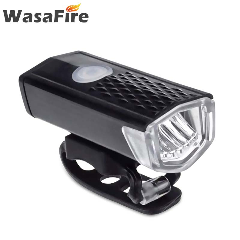 Wasafire 300LM Bicycle Front Light Waterproof Shockproof Cycling Headlight USB Rechargeable LED Lamp Flashlight Bike Accessories