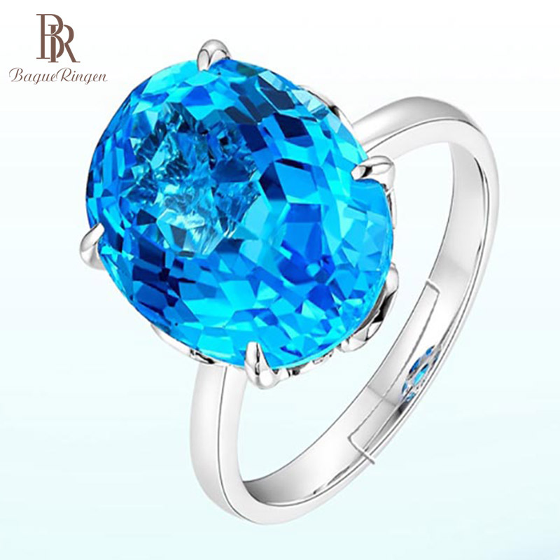 Bague Ringen  Silver 925 Jewelry Women Ring Luxurious Created Topaz  Geometry  Adjustable Female Rings  Party Anniversary Gifts