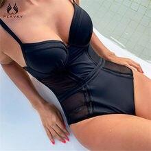 Sexy negro de malla de Push Up de una pieza traje de baño mujer 2021 Monokini vestido de traje de baño de las mujeres traje de baño Trikini