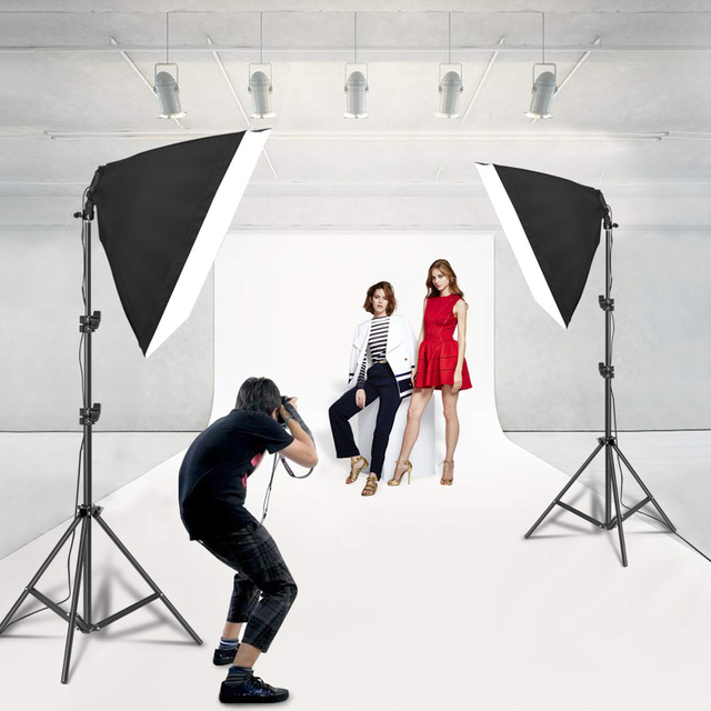 Photography Lighting 50x70CM Four Lamp Softbox Kit E27 Holder With 8pcs Bulb Soft Box AccessoriesFor Photo Studio Video 5