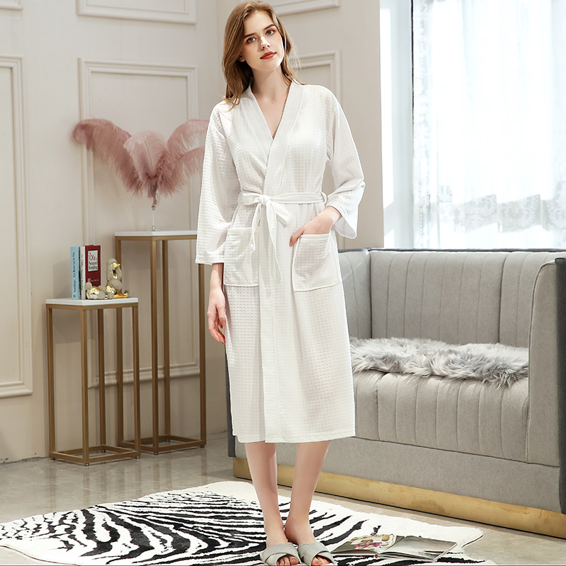 Image 5 - Lovers Summer Fashion  Waffle Bathrobe Women Suck Water Kimono Bath Robe Plus Size Sexy Peignoir Dressing Gown Bridesmaid Robes-in Robes from Underwear & Sleepwears on AliExpress