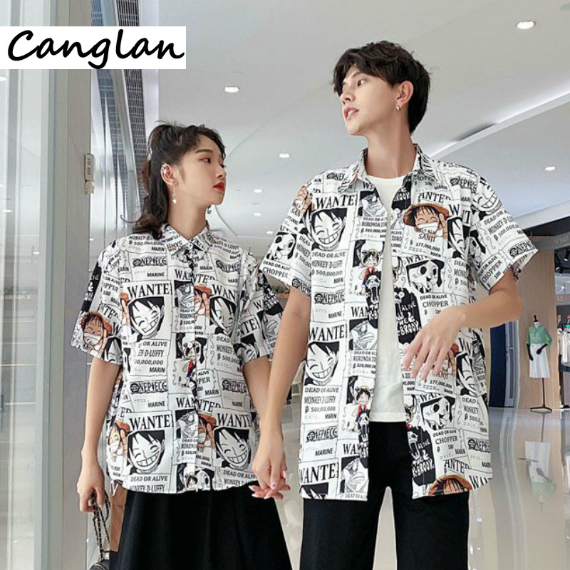 Anime One Piece Print Shirt Button Up Clothing Men Women Summer T Shirt Button Up Tshirt Japanese Harajuku Luffy Clothes Tee Top