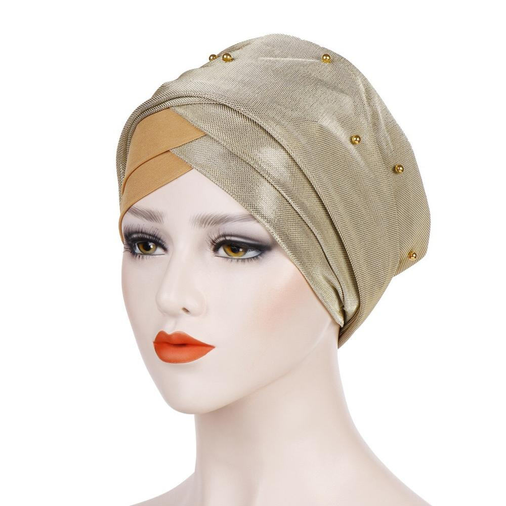 Islamic Headscarf Bonnet Muslim Women Beading Turban Hijab Caps India Africain 3 Pleats Turban Femme Musulman Turbante Mujer