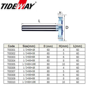 Image 2 - Tideway 1/2 Shank 6 Flutes Groove Slotting Milling Cutter CNC Tool For Hard Wood Cutters T type Slot Woodworking Router Bit