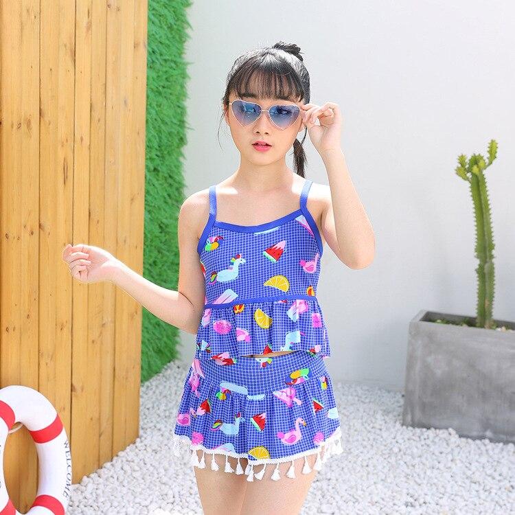 KID'S Swimwear Girls Korean-style Split Skirt-Big Kid Tour Bathing Suit Students South Korea GIRL'S Swimwear 10-15-Year-Old