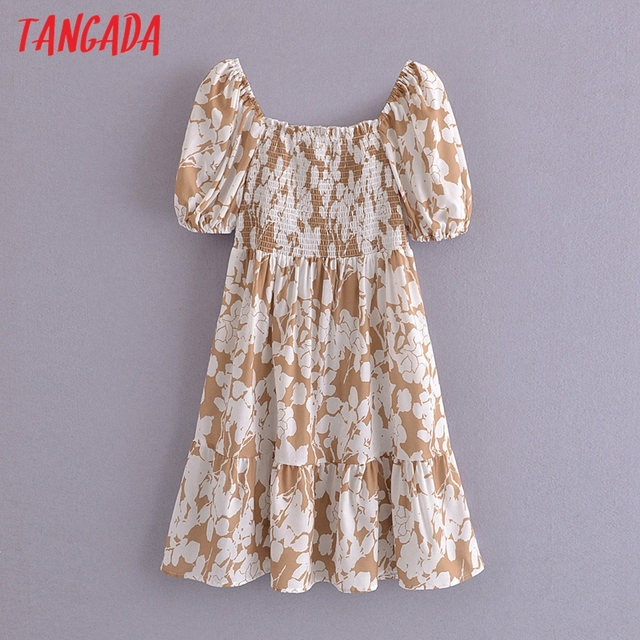 Tangada 2021 Summer Women Floral Print Short Dress Square Neck Short Sleeve Ladies Mini Dress Vestidos 3A148 6