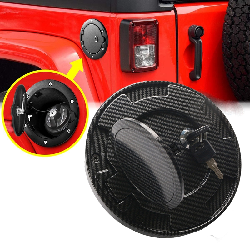 Carbon Fiber Fuel Gas Tank Cap Lock Cover with Keys for Jeep Wrangler JK 2007-2014 2015 2016 2017 2018