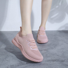 Woman White Shoes Fashion Fly Weave Breathable Comfortable Woman Sneakers Woman Lace-Up Walking Shoes