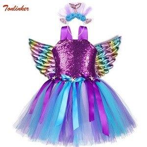 Image 1 - Kızlar Unicorn Pony kostüm kafa bandı ile Tutu elbise çiçek pullu prenses kız parti elbise çocuk çocuklar Unicorn kostümleri yeni