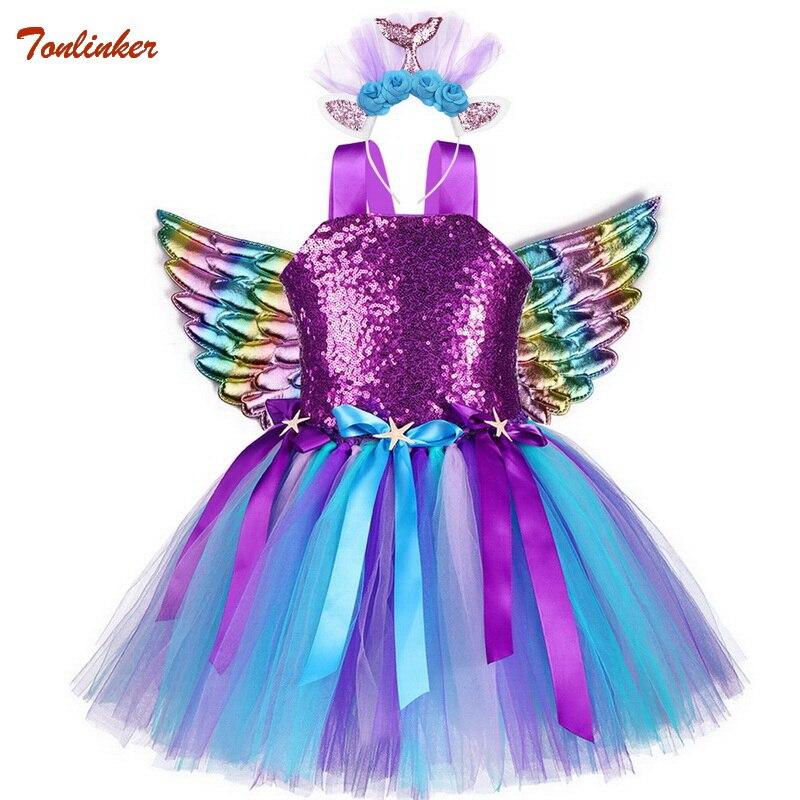 Traje com Bandana Vestido de Lantejoulas Vestido de Festa Meninas Unicórnio Pônei Tutu Flor Princesa Crianças Trajes Novo