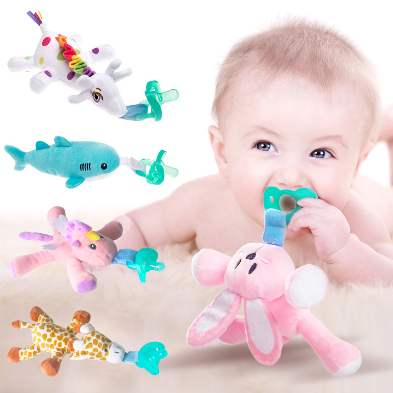 (Doll + Pacifier Set)Baby Toys Pacifier Clips Velcro Pacifier Detachable Animal Plush Toy Boys Girls Cartoon Feeding Accessories