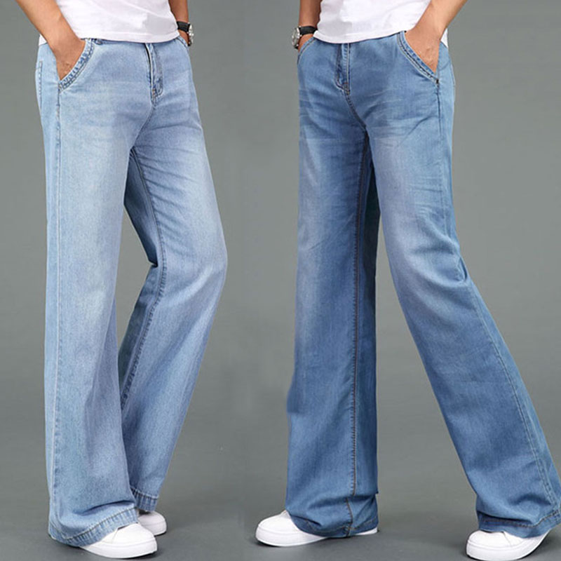 Jeans Men 2019 Summer Thin Large Size Micro Flare Pants Men's Straight Wide Legs Loose Pants More Sizes 27-32 33 34