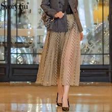 Svoryxiu 2019 New Autumn Runway Designer Mesh Pleated Skirts Womens Cotton Lining Vintage Polka Dot Plaid