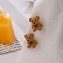 Милые 3d серьги с маленьким медведем красочные ручной работы