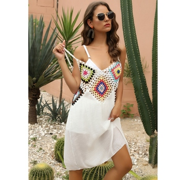 Women Crochet Beach Summer Tunic Cover Up Long Knitted Beachwear Swimsuit Dresses