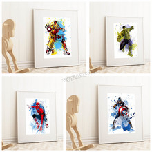 Super-héros Iron Man Captain America Spider-Man Hulk aquarelle art nordique style décoration affiches toile peinture K498(China)