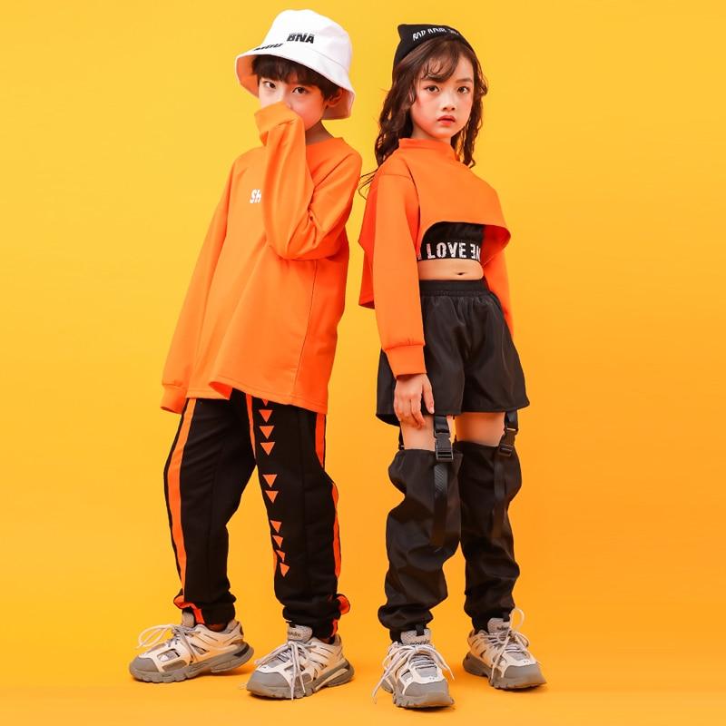 Kid Cool Hip Hop Clothing Outfit Sweatshirt Shirt Top Crop Hollow Causal Pants For Girl Jazz Ballroom Dance Costume Clothes Wear